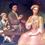 Richard Collins, A Family of Three at Tea, 1727